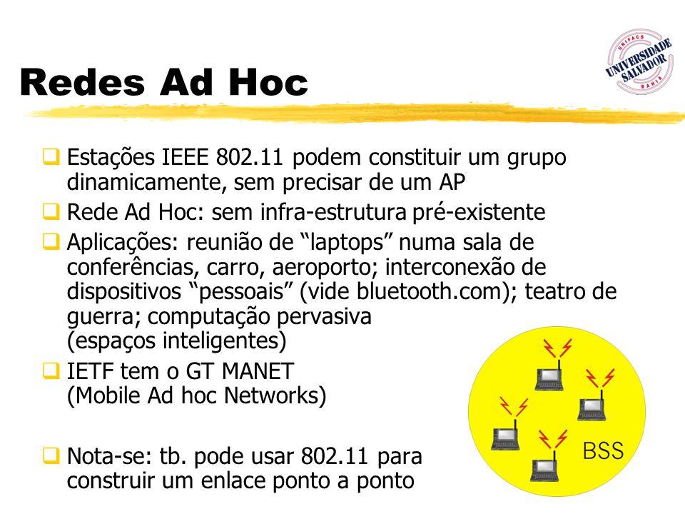 68 Redes Ad Hoc Estações IEEE 802.11 podem constituir um grupo dinamicamente, sem precisar de um AP Rede Ad Hoc: sem infra-estrutura pré-existente Apl