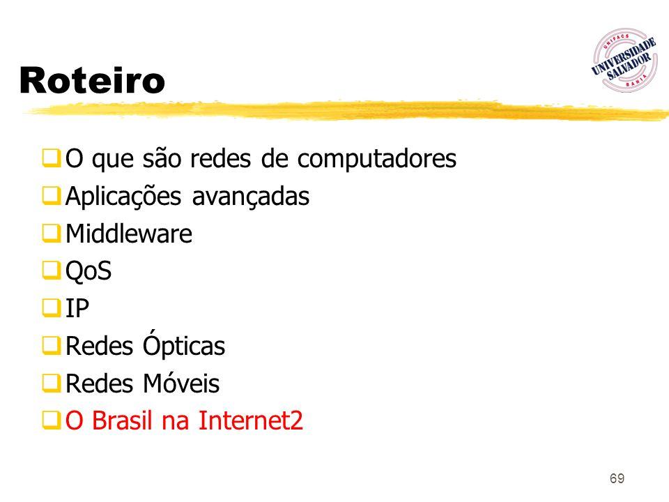 69 Roteiro O que são redes de computadores Aplicações avançadas Middleware QoS IP Redes Ópticas Redes Móveis O Brasil na Internet2