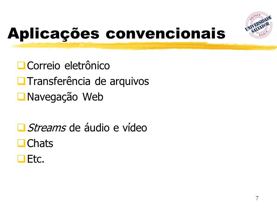 7 Aplicações convencionais Correio eletrônico Transferência de arquivos Navegação Web Streams de áudio e vídeo Chats Etc.