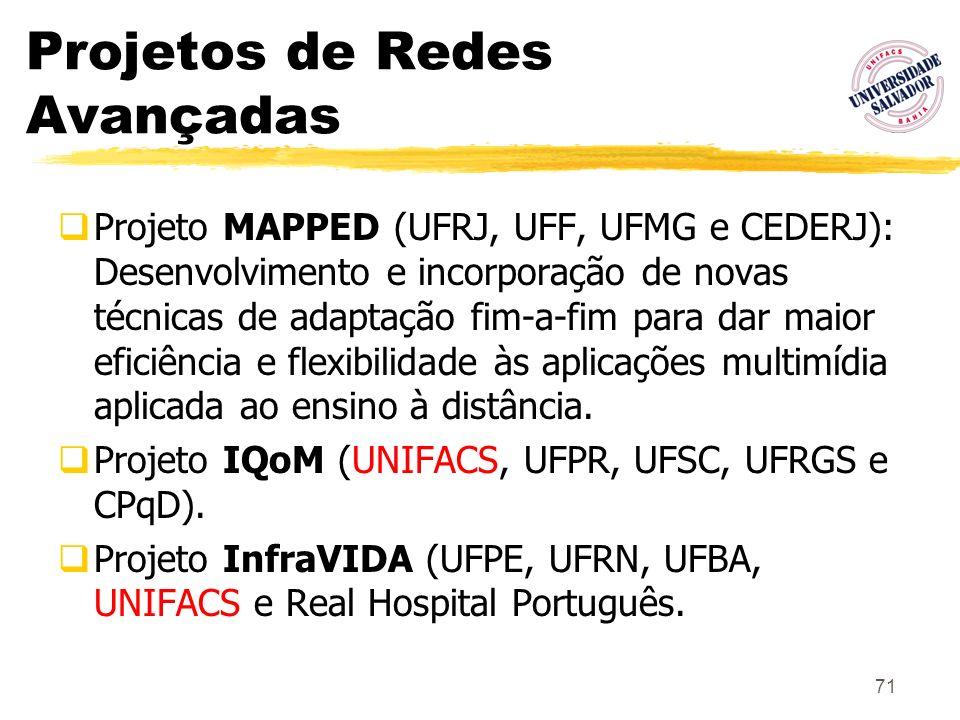 71 Projetos de Redes Avançadas Projeto MAPPED (UFRJ, UFF, UFMG e CEDERJ): Desenvolvimento e incorporação de novas técnicas de adaptação fim-a-fim para