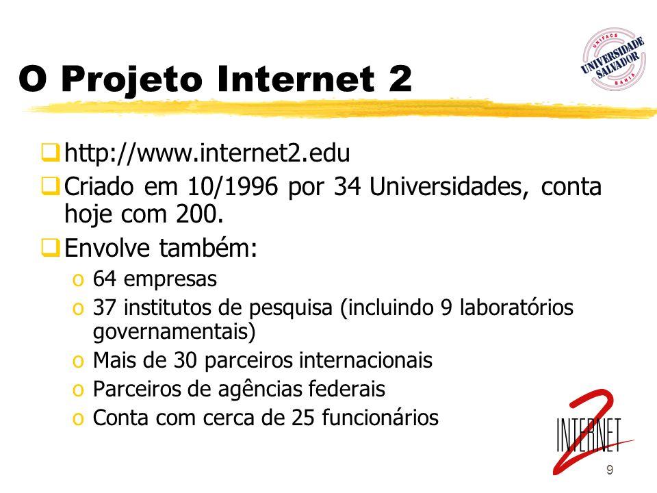 9 O Projeto Internet 2 http://www.internet2.edu Criado em 10/1996 por 34 Universidades, conta hoje com 200. Envolve também: o64 empresas o37 instituto