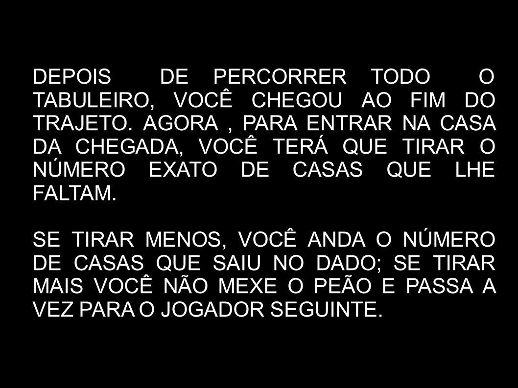 DEPOIS DE PERCORRER TODO O TABULEIRO, VOCÊ CHEGOU AO FIM DO TRAJETO.