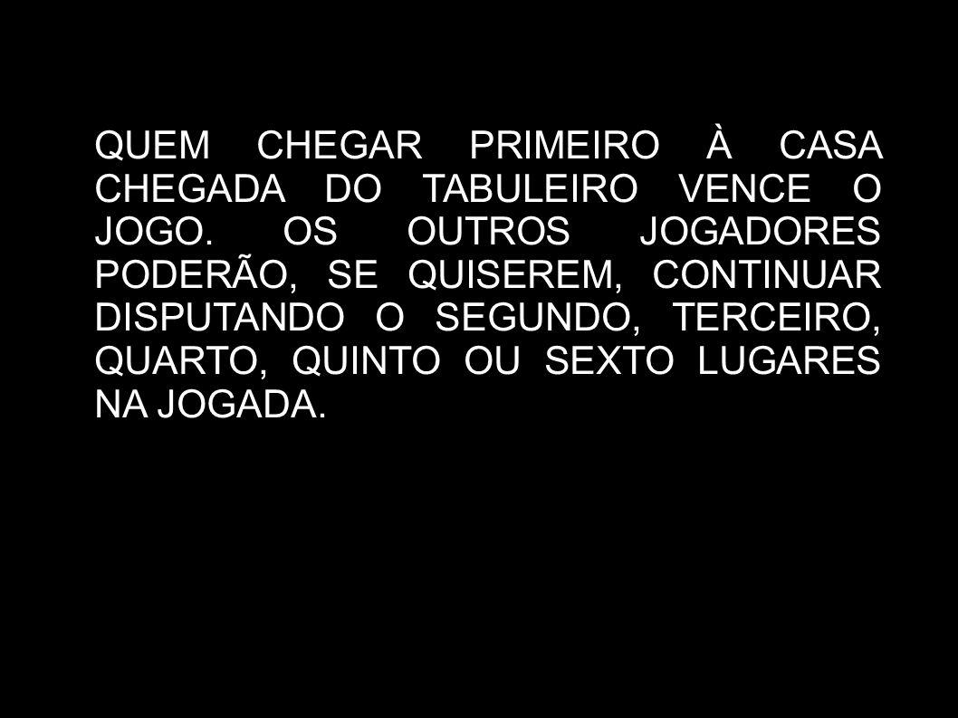QUEM CHEGAR PRIMEIRO À CASA CHEGADA DO TABULEIRO VENCE O JOGO.