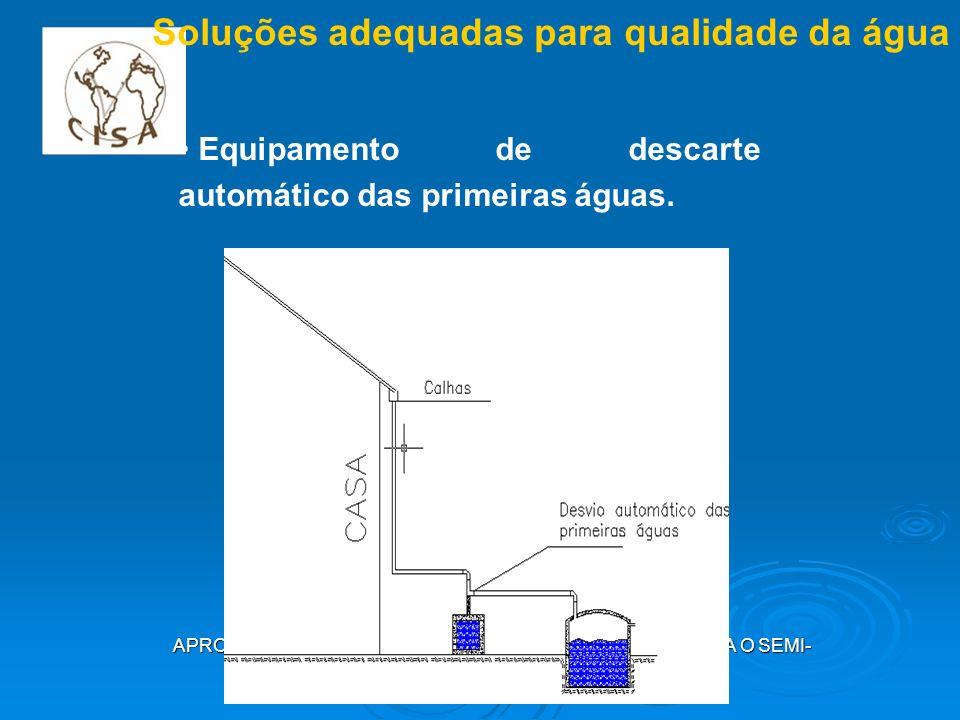 APROVEITAMENTO DE ÁGUA DE CHUVA EM CISTERNAS PARA O SEMI- ÁRIDO CAMPINA GRANDE, MAIO 2009 Soluções adequadas para qualidade da água Equipamento de des