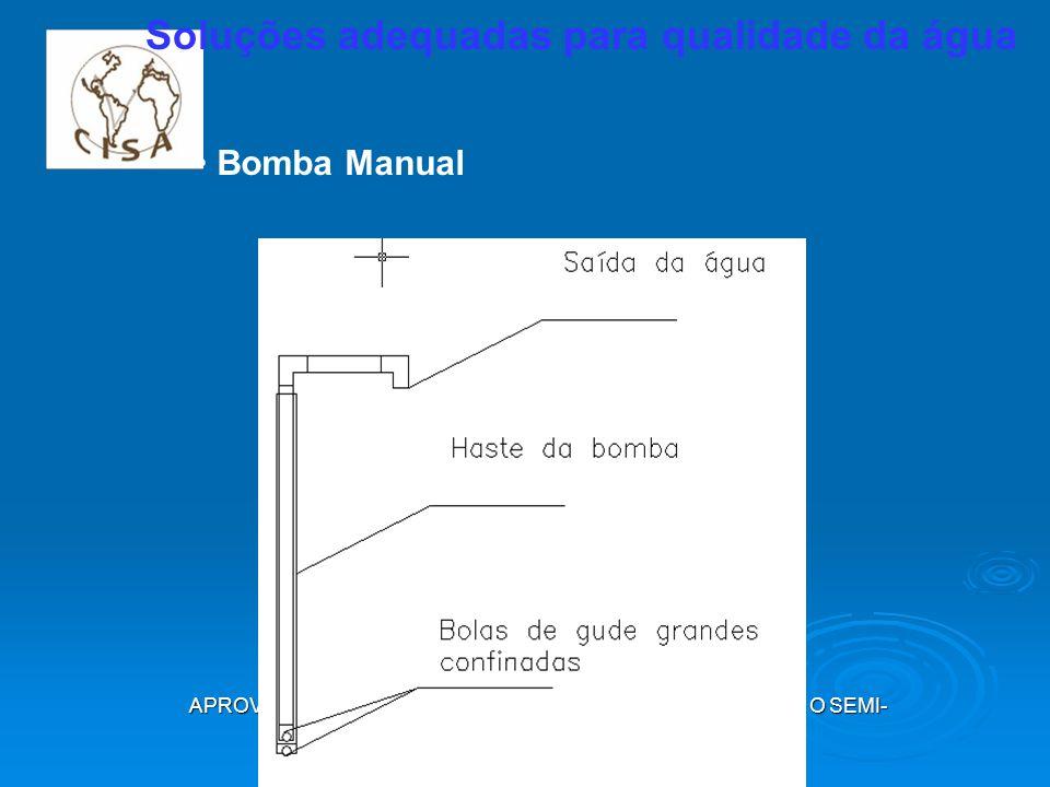APROVEITAMENTO DE ÁGUA DE CHUVA EM CISTERNAS PARA O SEMI- ÁRIDO CAMPINA GRANDE, MAIO 2009 Soluções adequadas para qualidade da água Bomba Manual