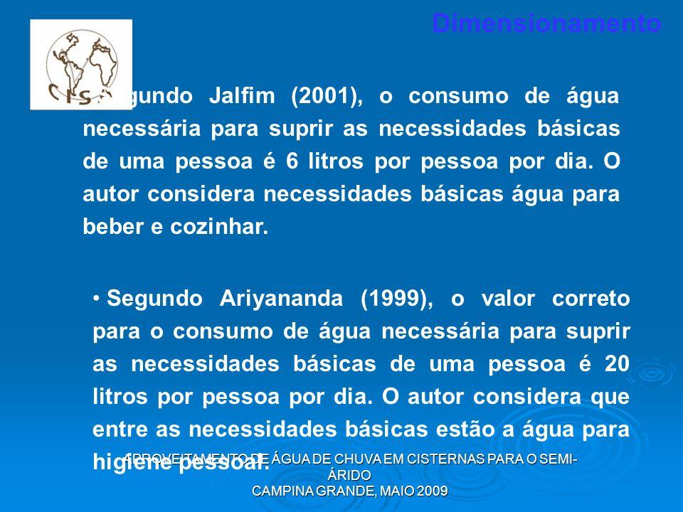 APROVEITAMENTO DE ÁGUA DE CHUVA EM CISTERNAS PARA O SEMI- ÁRIDO CAMPINA GRANDE, MAIO 2009 Segundo Jalfim (2001), o consumo de água necessária para sup