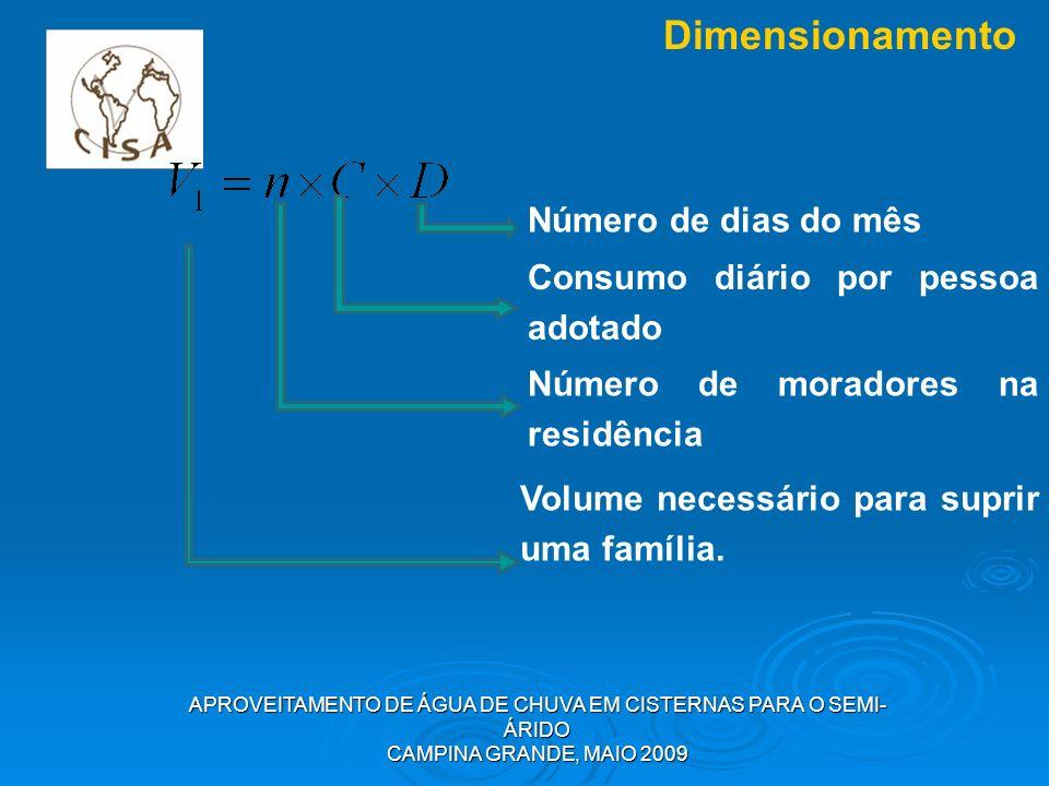 APROVEITAMENTO DE ÁGUA DE CHUVA EM CISTERNAS PARA O SEMI- ÁRIDO CAMPINA GRANDE, MAIO 2009 Dimensionamento Número de dias do mês Consumo diário por pes