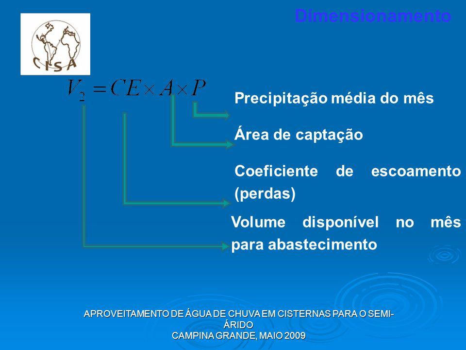 APROVEITAMENTO DE ÁGUA DE CHUVA EM CISTERNAS PARA O SEMI- ÁRIDO CAMPINA GRANDE, MAIO 2009 Dimensionamento Precipitação média do mês Área de captação C