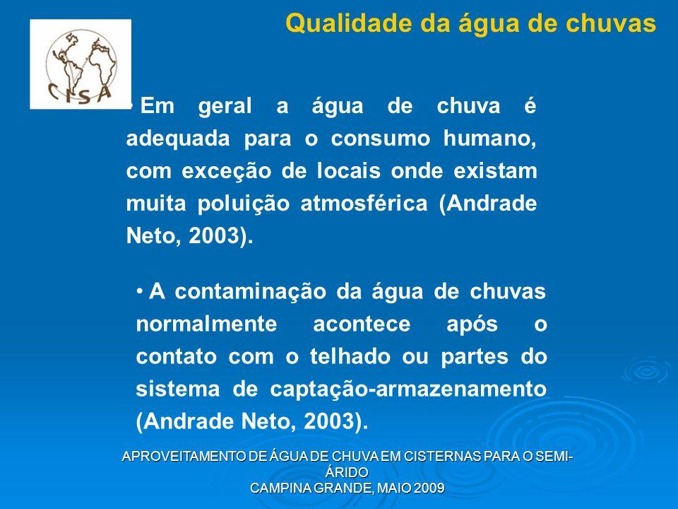 APROVEITAMENTO DE ÁGUA DE CHUVA EM CISTERNAS PARA O SEMI- ÁRIDO CAMPINA GRANDE, MAIO 2009 Qualidade da água de chuvas Em geral a água de chuva é adequ