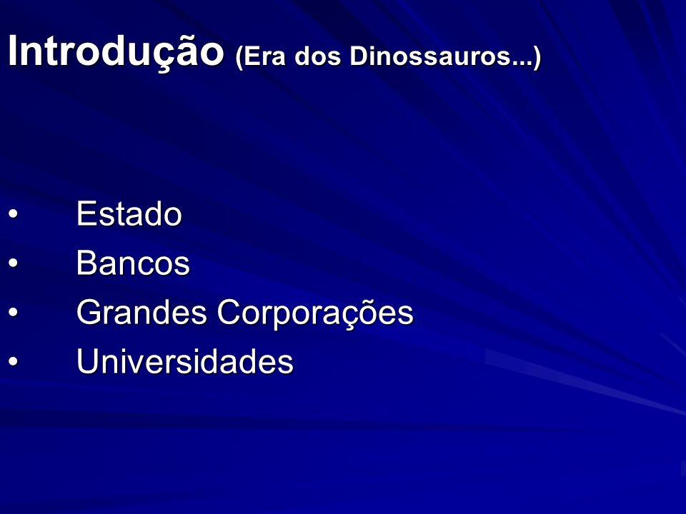 Introdução (Era dos Dinossauros...) EstadoEstado BancosBancos Grandes CorporaçõesGrandes Corporações UniversidadesUniversidades