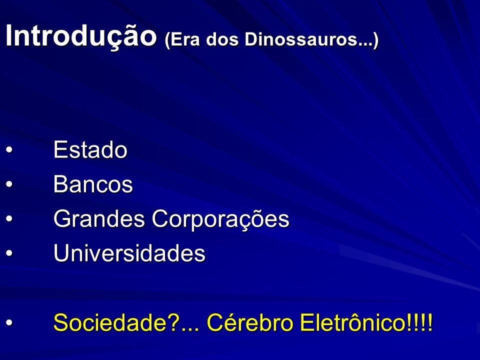 Introdução (Era dos Dinossauros...) EstadoEstado BancosBancos Grandes CorporaçõesGrandes Corporações UniversidadesUniversidades Sociedade?... Cérebro