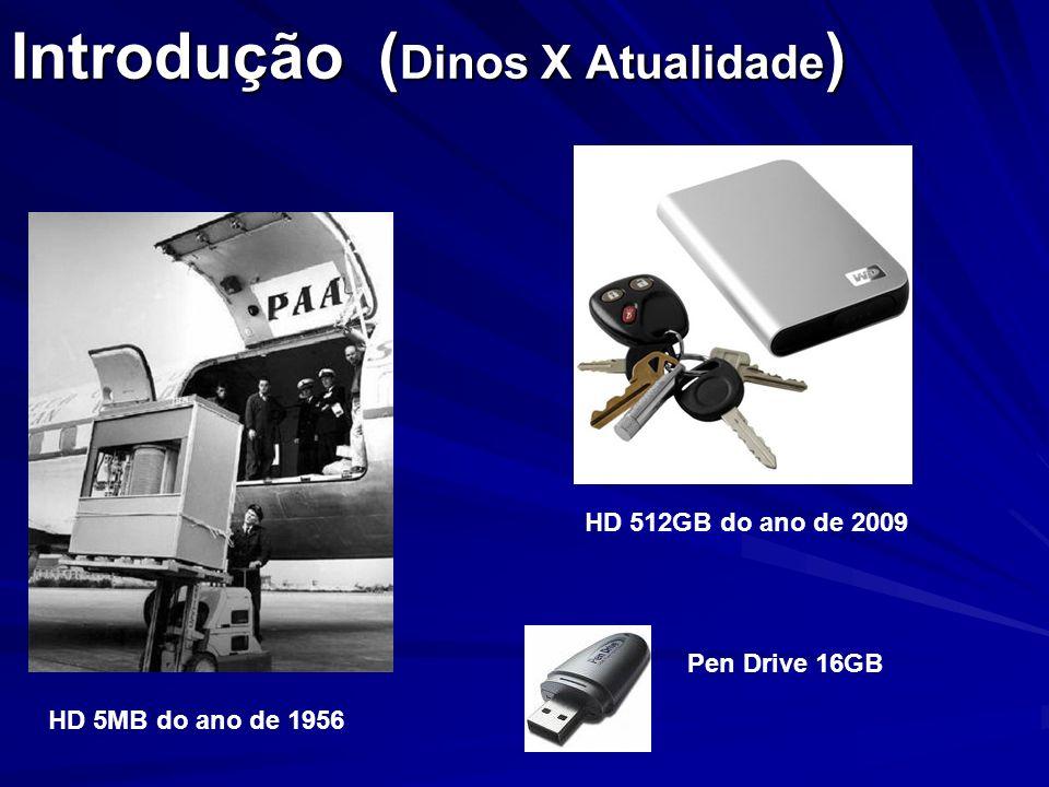 Introdução ( Dinos X Atualidade ) HD 5MB do ano de 1956 Pen Drive 16GB HD 512GB do ano de 2009
