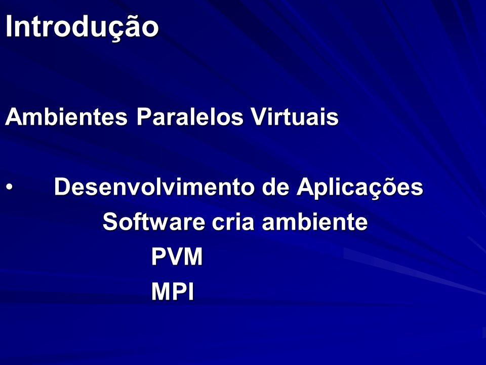 Introdução Ambientes Paralelos Virtuais Desenvolvimento de AplicaçõesDesenvolvimento de Aplicações Software cria ambiente PVMMPI
