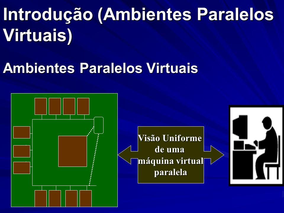 Introdução (Ambientes Paralelos Virtuais) Ambientes Paralelos Virtuais Visão Uniforme de uma máquina virtual paralela