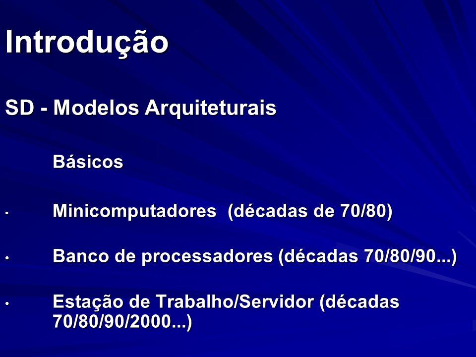 Introdução SD - Modelos Arquiteturais Básicos Minicomputadores (décadas de 70/80) Minicomputadores (décadas de 70/80) Banco de processadores (décadas
