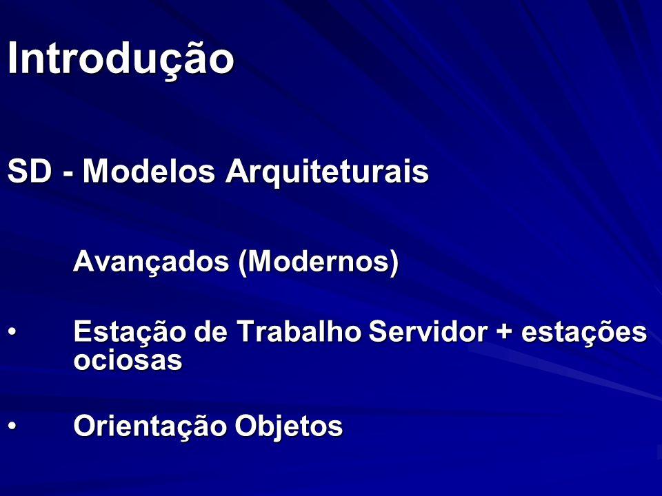 Introdução SD - Modelos Arquiteturais Avançados (Modernos) Estação de Trabalho Servidor + estações ociosasEstação de Trabalho Servidor + estações ocio