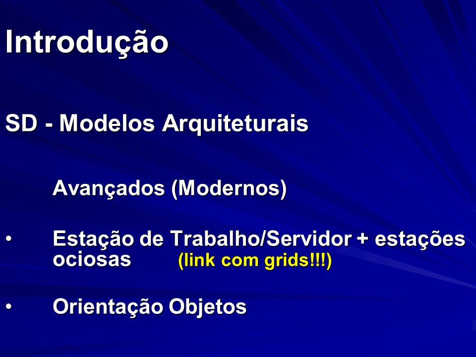 Introdução SD - Modelos Arquiteturais Avançados (Modernos) Estação de Trabalho/Servidor + estações ociosas (link com grids!!!)Estação de Trabalho/Serv