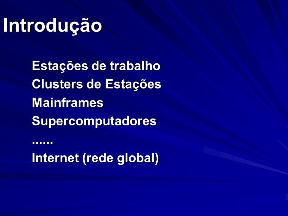 Introdução Estações de trabalho Clusters de Estações MainframesSupercomputadores...... Internet (rede global)
