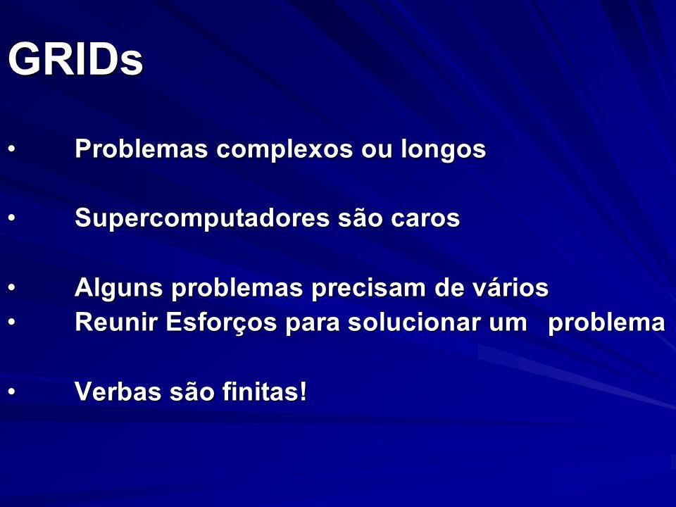 GRIDs Problemas complexos ou longosProblemas complexos ou longos Supercomputadores são carosSupercomputadores são caros Alguns problemas precisam de v