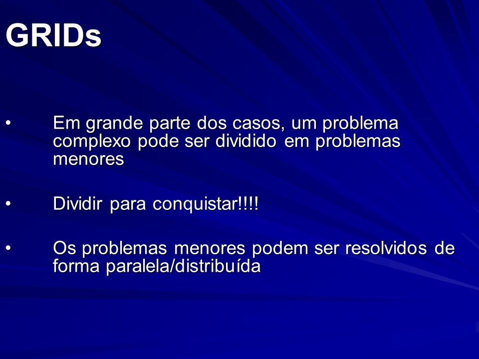 GRIDs Em grande parte dos casos, um problema complexo pode ser dividido em problemas menoresEm grande parte dos casos, um problema complexo pode ser d