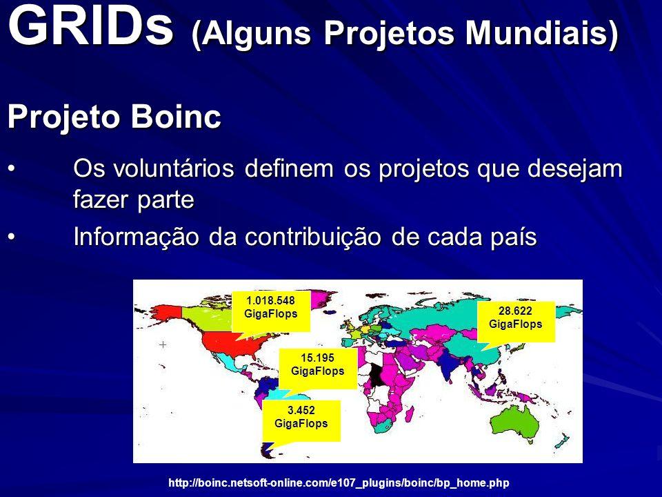 GRIDs (Alguns Projetos Mundiais) Projeto Boinc Os voluntários definem os projetos que desejam fazer parteOs voluntários definem os projetos que deseja