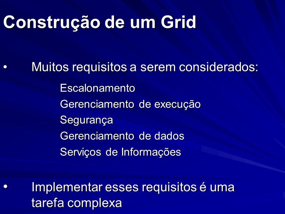 Construção de um Grid Muitos requisitos a serem considerados:Muitos requisitos a serem considerados:Escalonamento Gerenciamento de execução Segurança