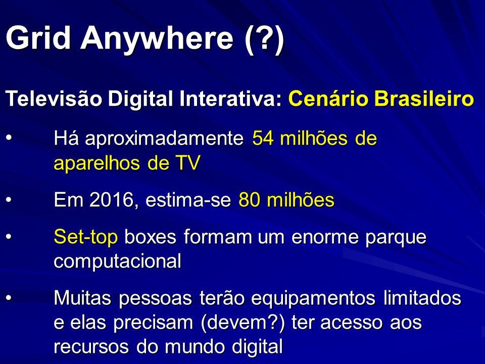 Grid Anywhere (?) Televisão Digital Interativa: Cenário Brasileiro Há aproximadamente 54 milhões de aparelhos de TV Há aproximadamente 54 milhões de a