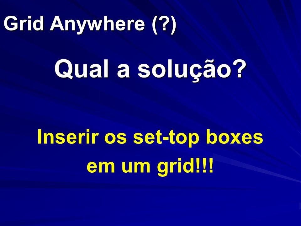 Grid Anywhere (?) Qual a solução? Inserir os set-top boxes em um grid!!!