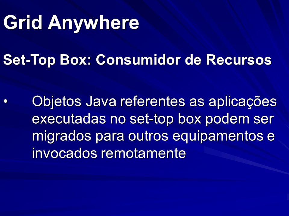 Set-Top Box: Consumidor de Recursos Objetos Java referentes as aplicações executadas no set-top box podem ser migrados para outros equipamentos e invo
