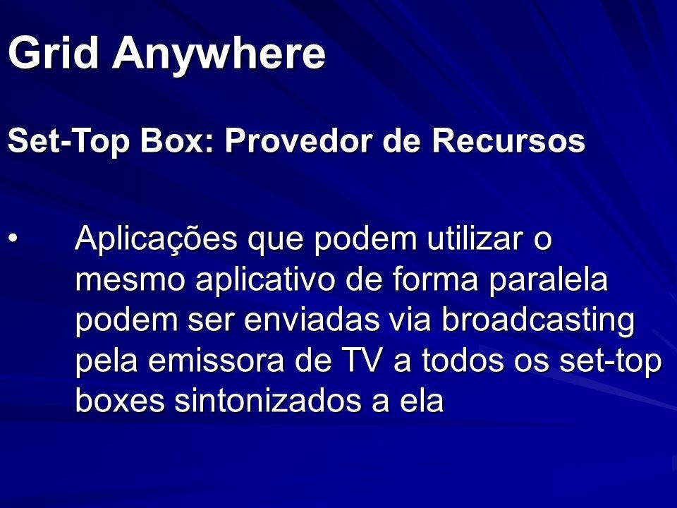 Grid Anywhere Set-Top Box: Provedor de Recursos Aplicações que podem utilizar o mesmo aplicativo de forma paralela podem ser enviadas via broadcasting