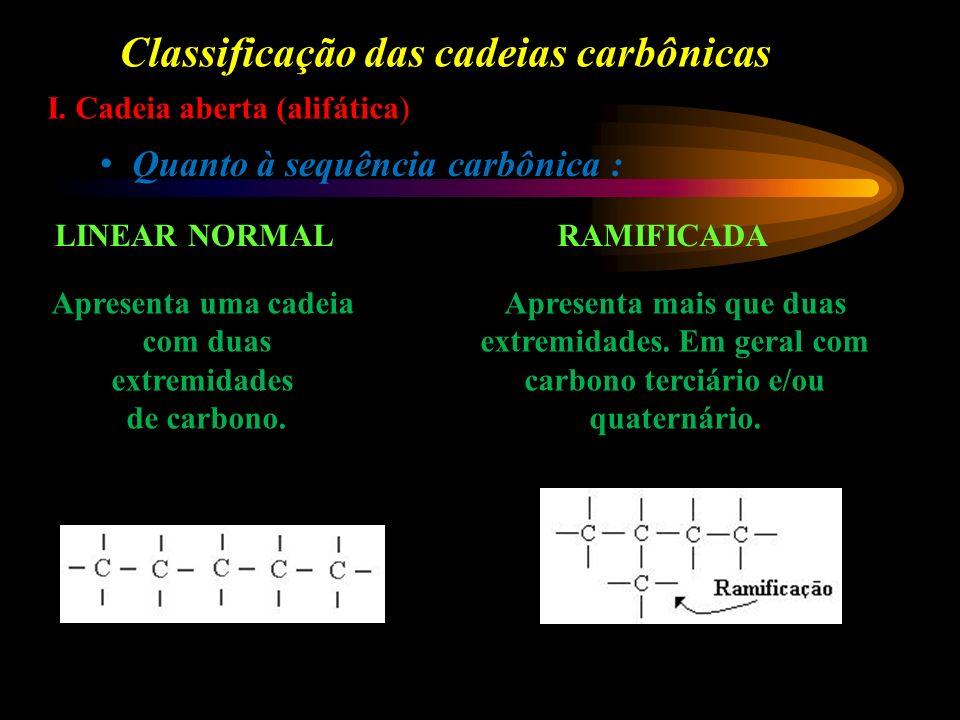 Classificação das cadeias carbônicas I.