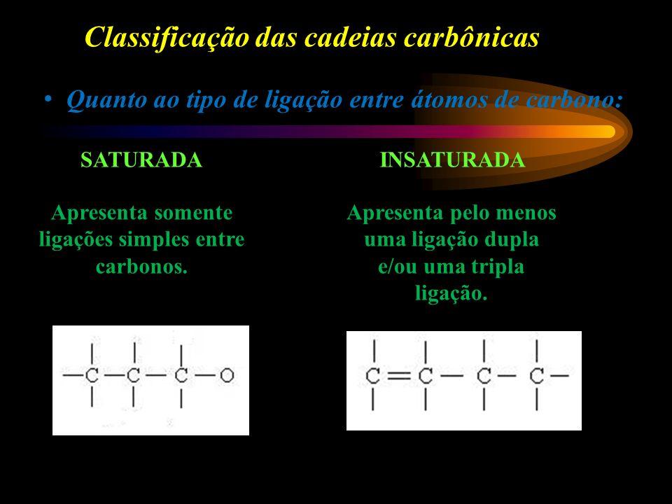 Classificação das cadeias carbônicas Quanto ao tipo de ligação entre átomos de carbono: SATURADAINSATURADA Apresenta somente ligações simples entre carbonos.