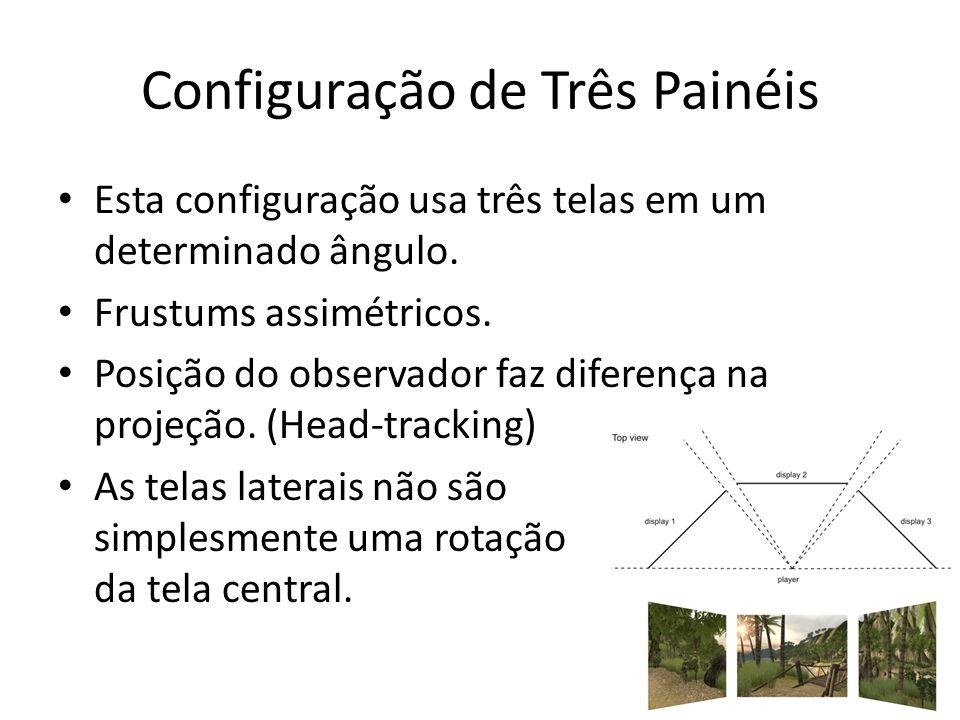 Configuração de Três Painéis Esta configuração usa três telas em um determinado ângulo. Frustums assimétricos. Posição do observador faz diferença na