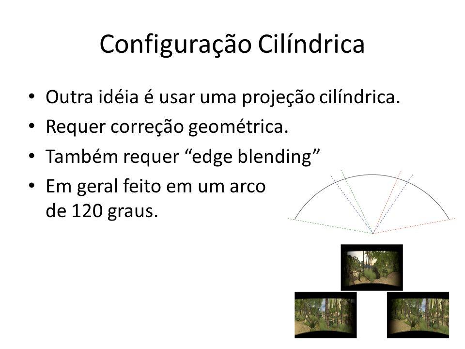 Configuração Cilíndrica Outra idéia é usar uma projeção cilíndrica. Requer correção geométrica. Também requer edge blending Em geral feito em um arco