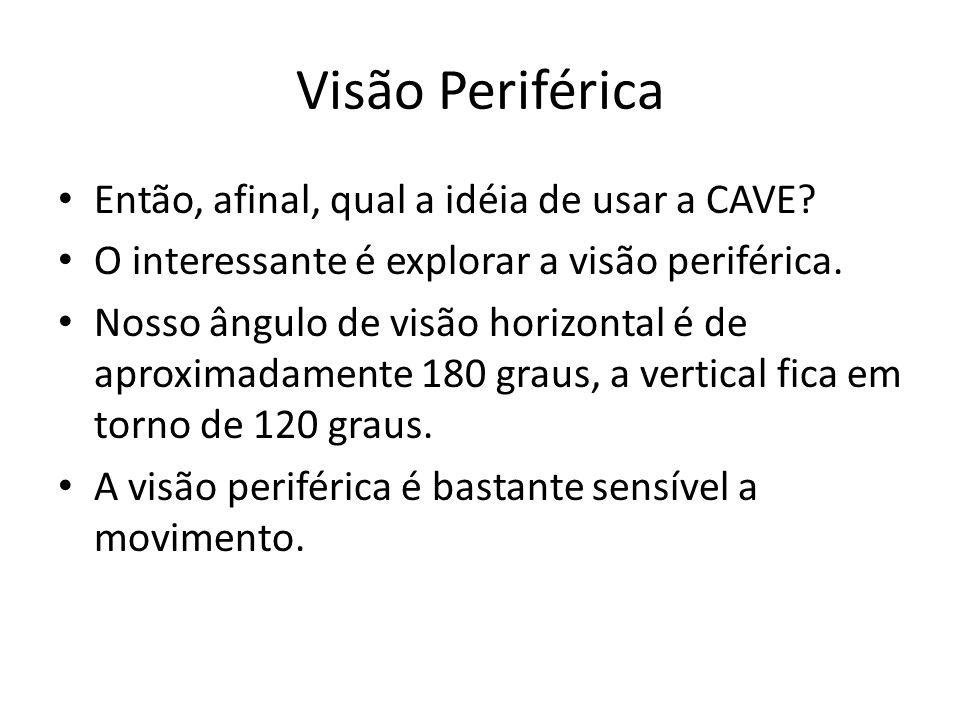 Visão Periférica Então, afinal, qual a idéia de usar a CAVE? O interessante é explorar a visão periférica. Nosso ângulo de visão horizontal é de aprox