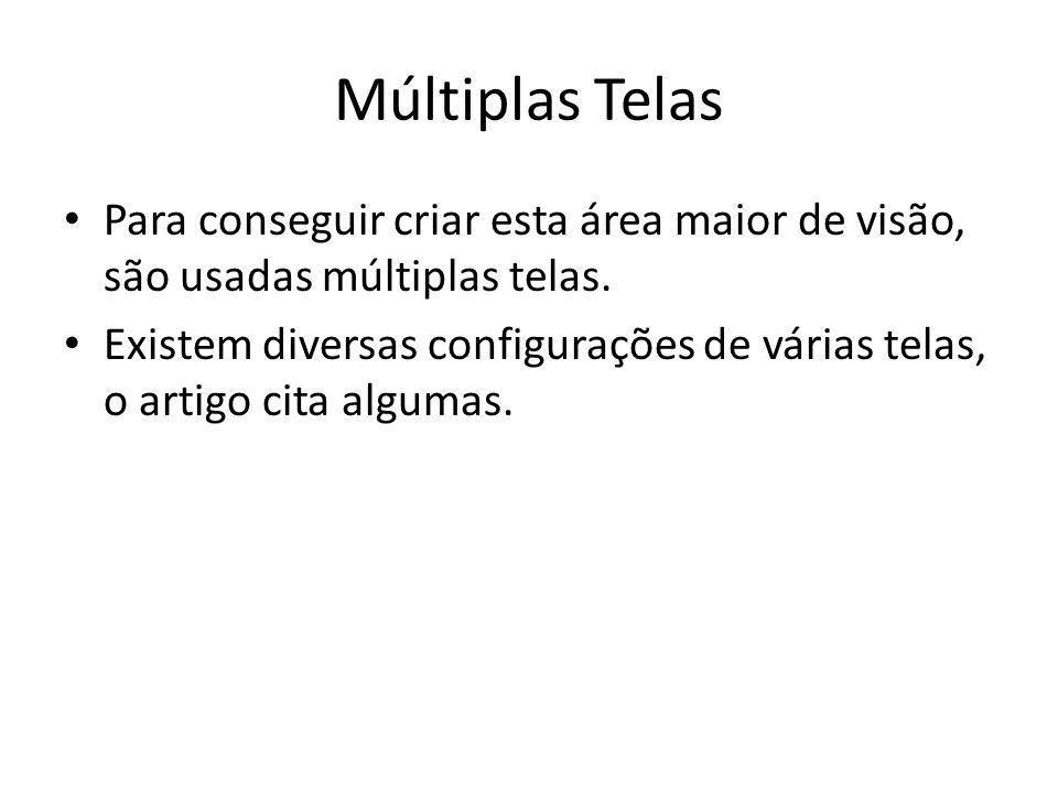 Múltiplas Telas Para conseguir criar esta área maior de visão, são usadas múltiplas telas. Existem diversas configurações de várias telas, o artigo ci