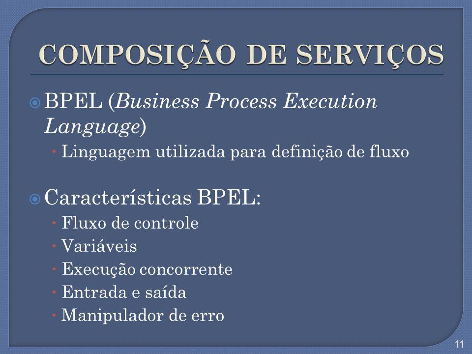 BPEL ( Business Process Execution Language ) Linguagem utilizada para definição de fluxo Características BPEL: Fluxo de controle Variáveis Execução co