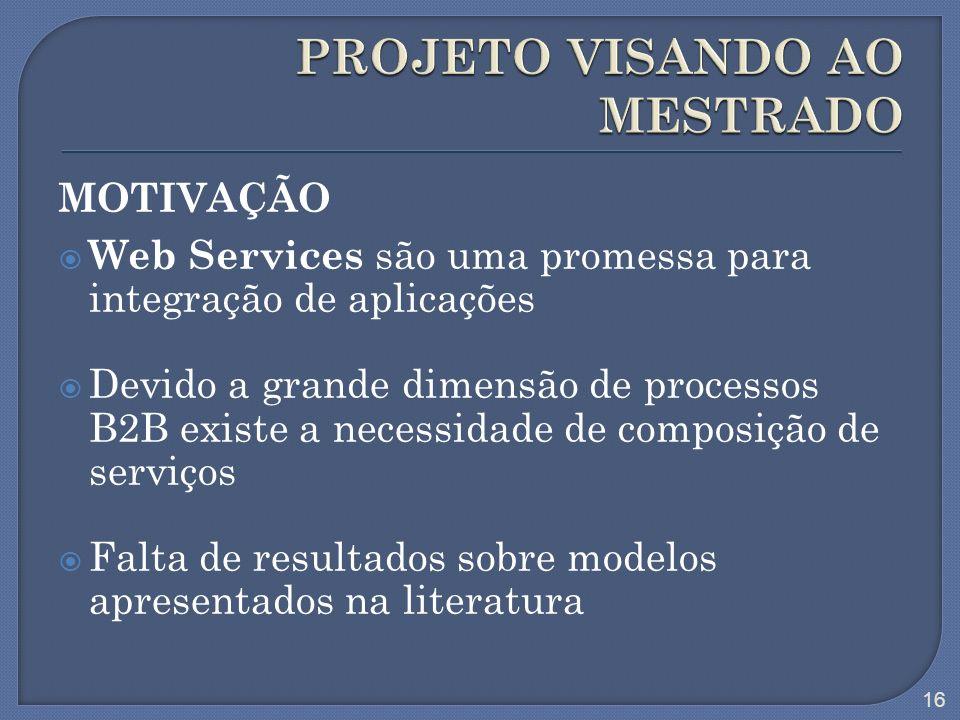 MOTIVAÇÃO Web Services são uma promessa para integração de aplicações Devido a grande dimensão de processos B2B existe a necessidade de composição de