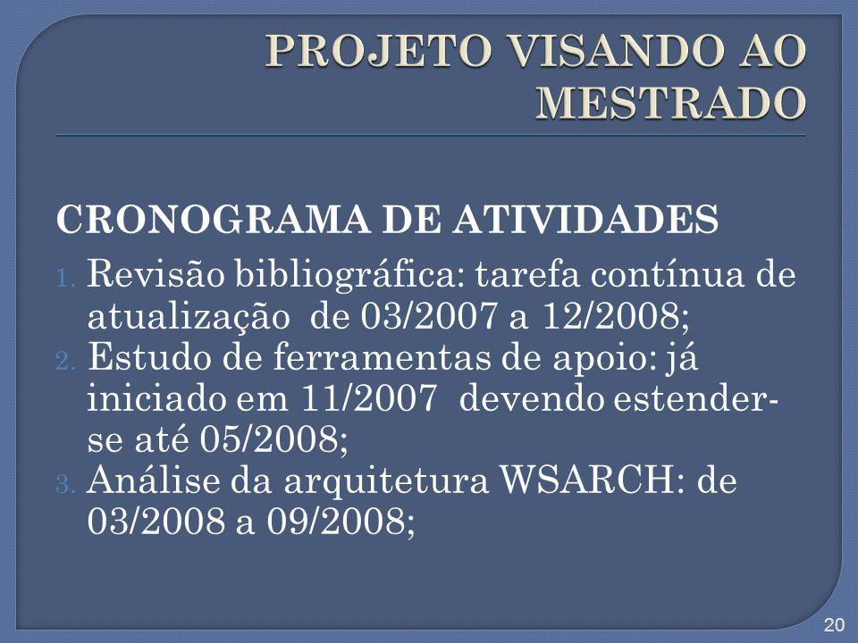 CRONOGRAMA DE ATIVIDADES 1. Revisão bibliográfica: tarefa contínua de atualização de 03/2007 a 12/2008; 2. Estudo de ferramentas de apoio: já iniciado