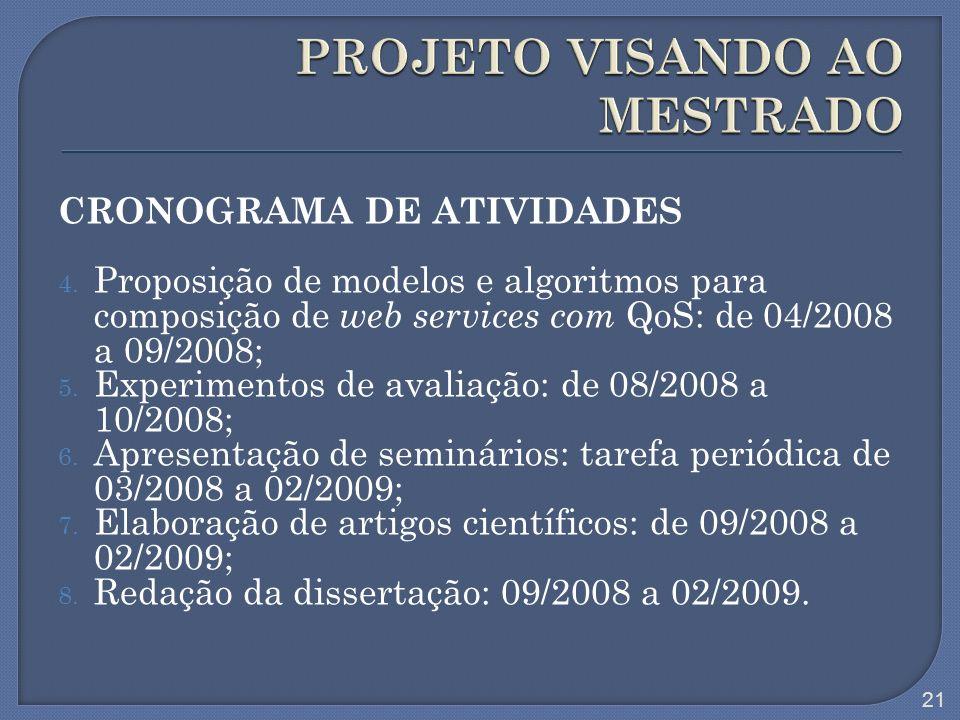 CRONOGRAMA DE ATIVIDADES 4. Proposição de modelos e algoritmos para composição de web services com QoS: de 04/2008 a 09/2008; 5. Experimentos de avali