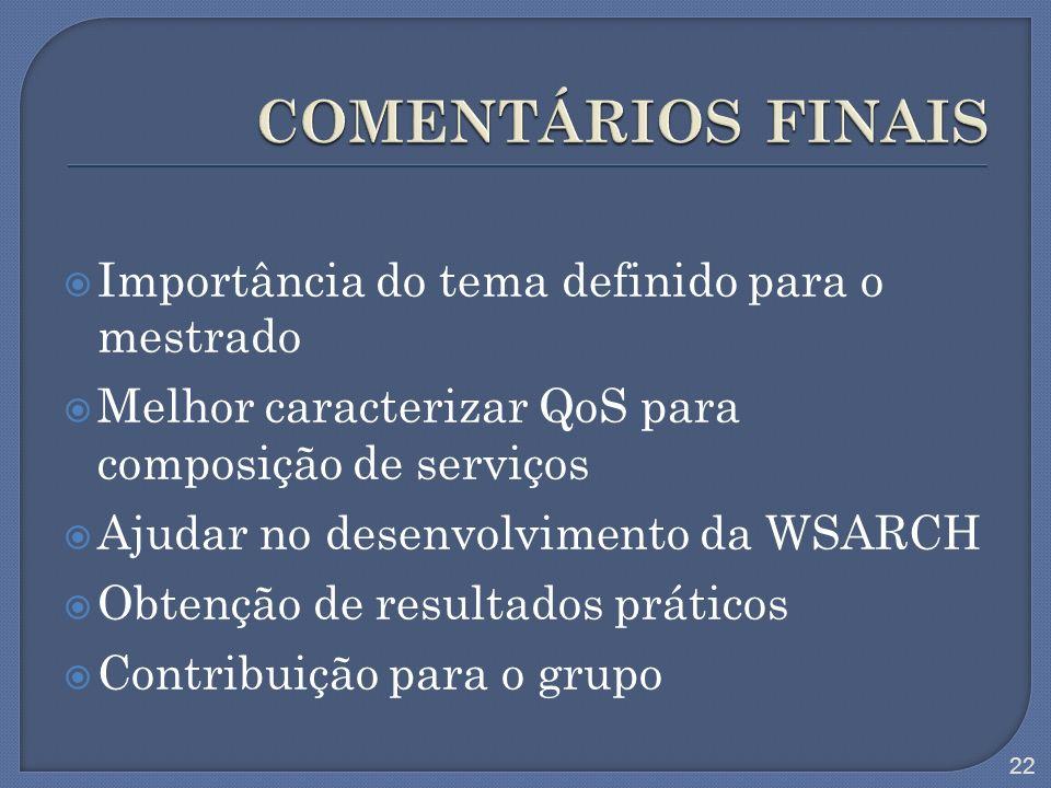 Importância do tema definido para o mestrado Melhor caracterizar QoS para composição de serviços Ajudar no desenvolvimento da WSARCH Obtenção de resul