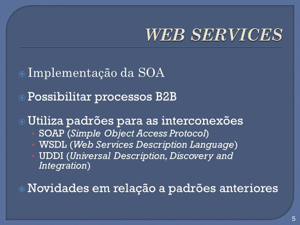 Implementação da SOA Possibilitar processos B2B Utiliza padrões para as interconexões SOAP (Simple Object Access Protocol) WSDL (Web Services Descript