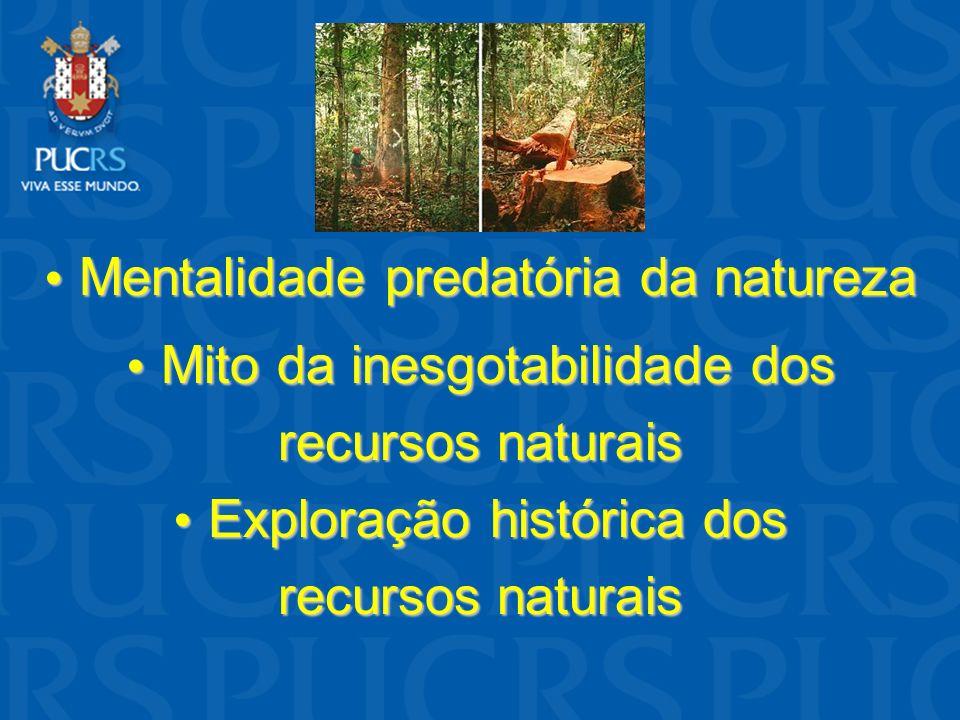 Mentalidade predatória da natureza Mentalidade predatória da natureza Mito da inesgotabilidade dos Mito da inesgotabilidade dos recursos naturais Expl