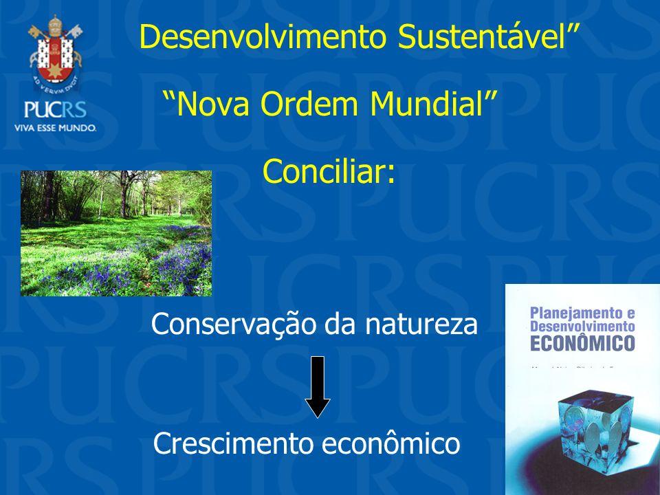 Desenvolvimento Sustentável Nova Ordem Mundial Conciliar: Conservação da natureza Crescimento econômico