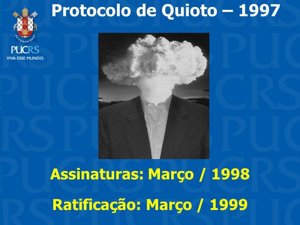 Protocolo de Quioto – 1997 Assinaturas: Março / 1998 Ratificação: Março / 1999