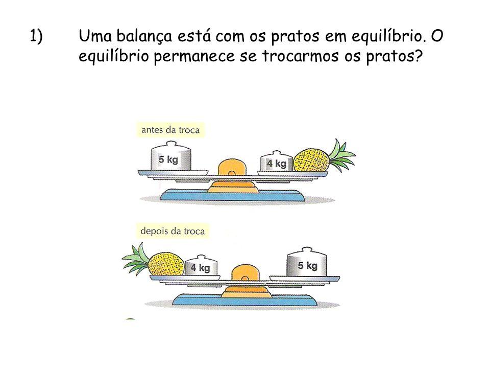 1)Uma balança está com os pratos em equilíbrio. O equilíbrio permanece se trocarmos os pratos?