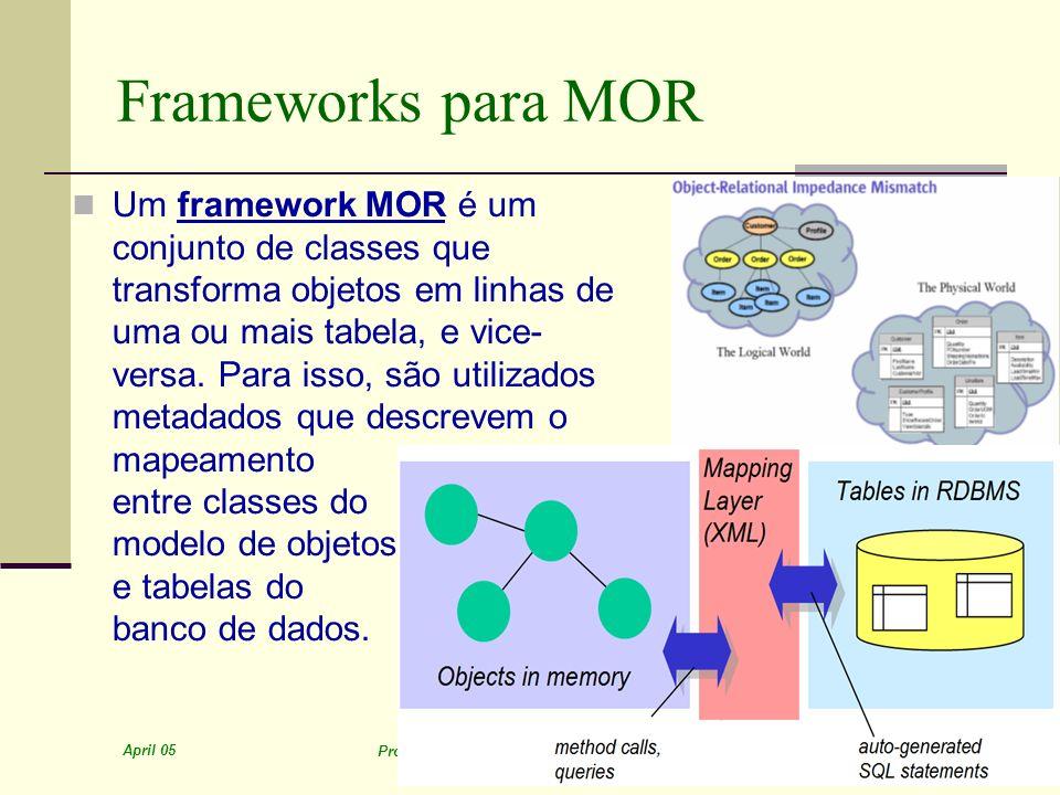 April 05 Prof. Ismael H. F. Santos - ismael@tecgraf.puc-rio.br 16 Frameworks para MOR Um framework MOR é um conjunto de classes que transforma objetos