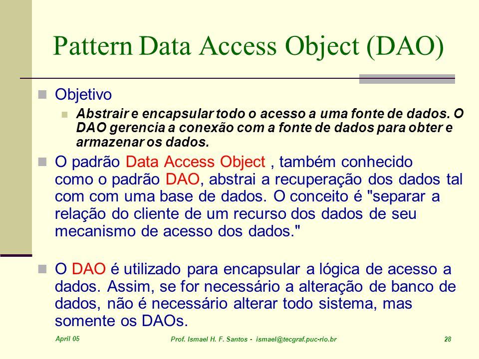 April 05 Prof. Ismael H. F. Santos - ismael@tecgraf.puc-rio.br 28 Pattern Data Access Object (DAO) Objetivo Abstrair e encapsular todo o acesso a uma
