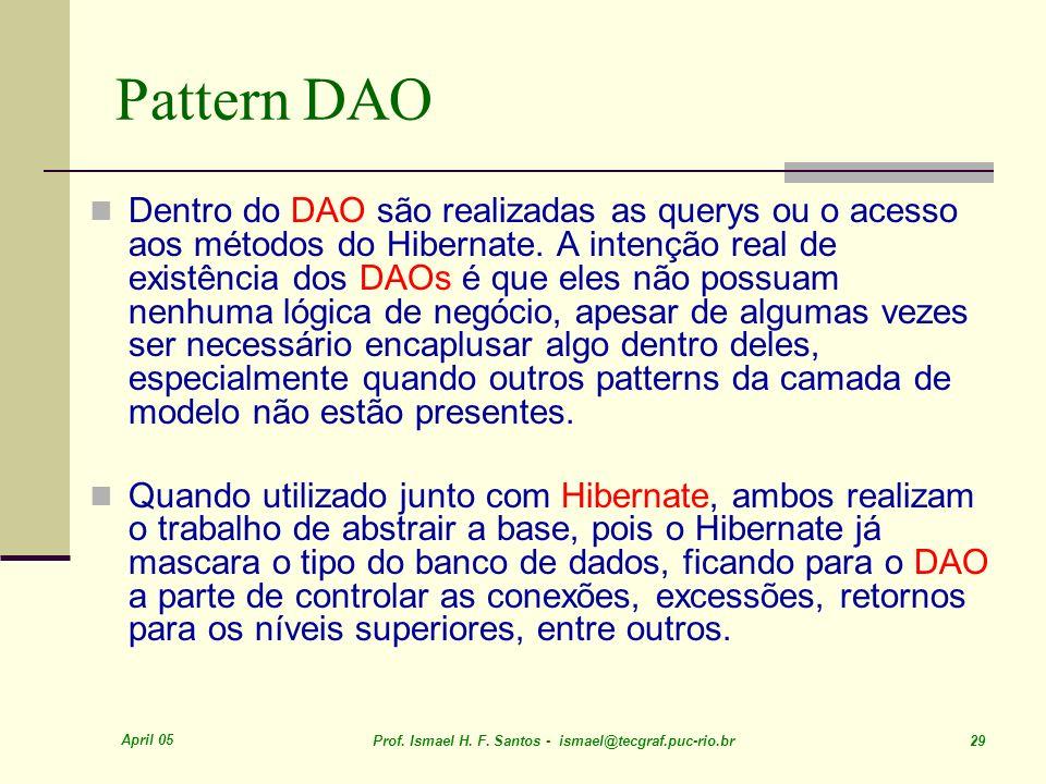 April 05 Prof. Ismael H. F. Santos - ismael@tecgraf.puc-rio.br 29 Pattern DAO Dentro do DAO são realizadas as querys ou o acesso aos métodos do Hibern