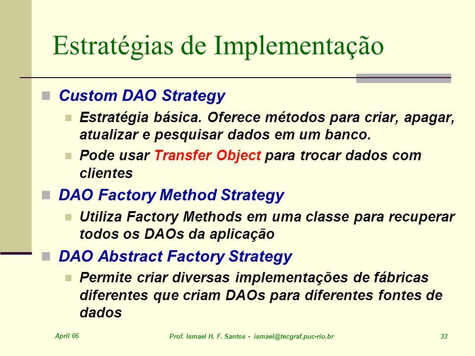 April 05 Prof. Ismael H. F. Santos - ismael@tecgraf.puc-rio.br 33 Estratégias de Implementação Custom DAO Strategy Estratégia básica. Oferece métodos